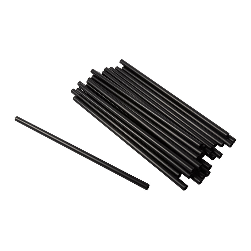 "Straw Super Jumbo 8"" Black, Case 1500"