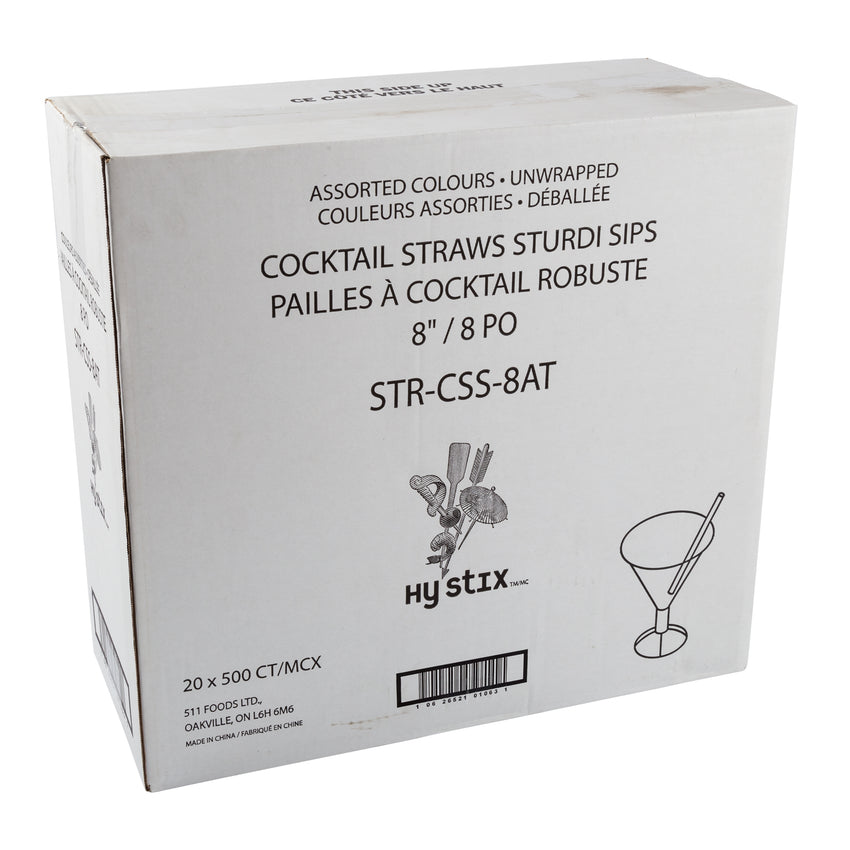 "Straw Cocktail Sturdy Sips 8"" Assorted, Case 500x20"