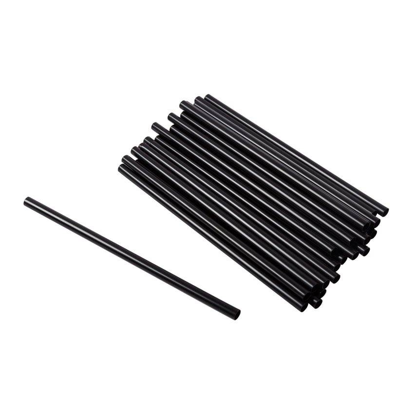 "Straw Cocktail Super 6"" Black, Case 2500"