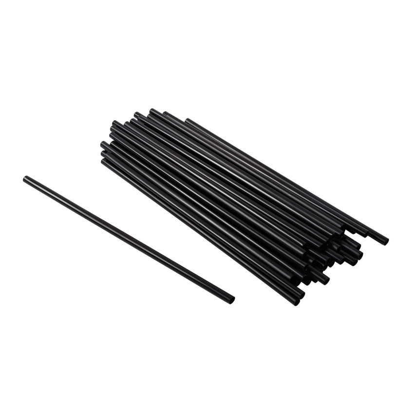 "Straw Cocktail Super 8"" Black, Case 2500"