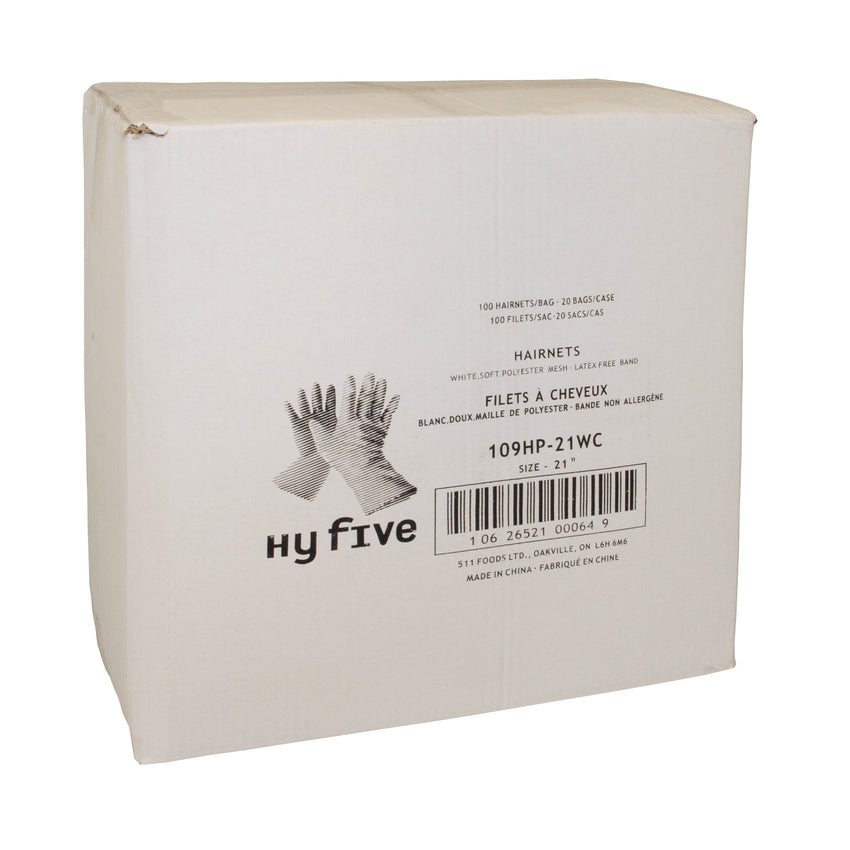 "Hairnet Polyester Soft Mesh 21"" White, Case 100x20"