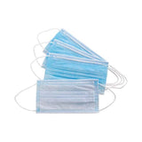 Facemask Ear loop 3ply nonwoven Blue, front and back