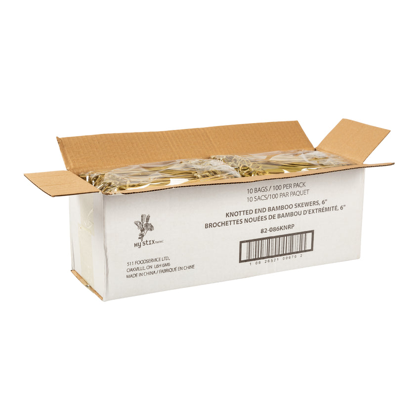 "Skewer Knotted Bamboo 6"", Case 100x10"