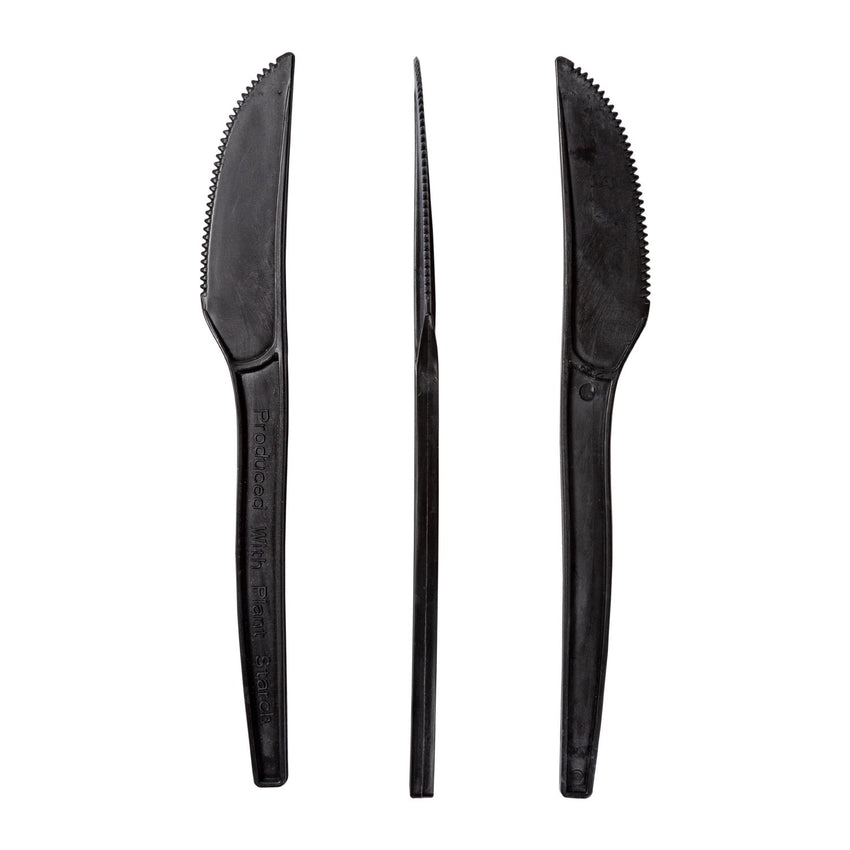 "7"" Black Plant Starch Material Knives, Left Side, Right Side and Top View"