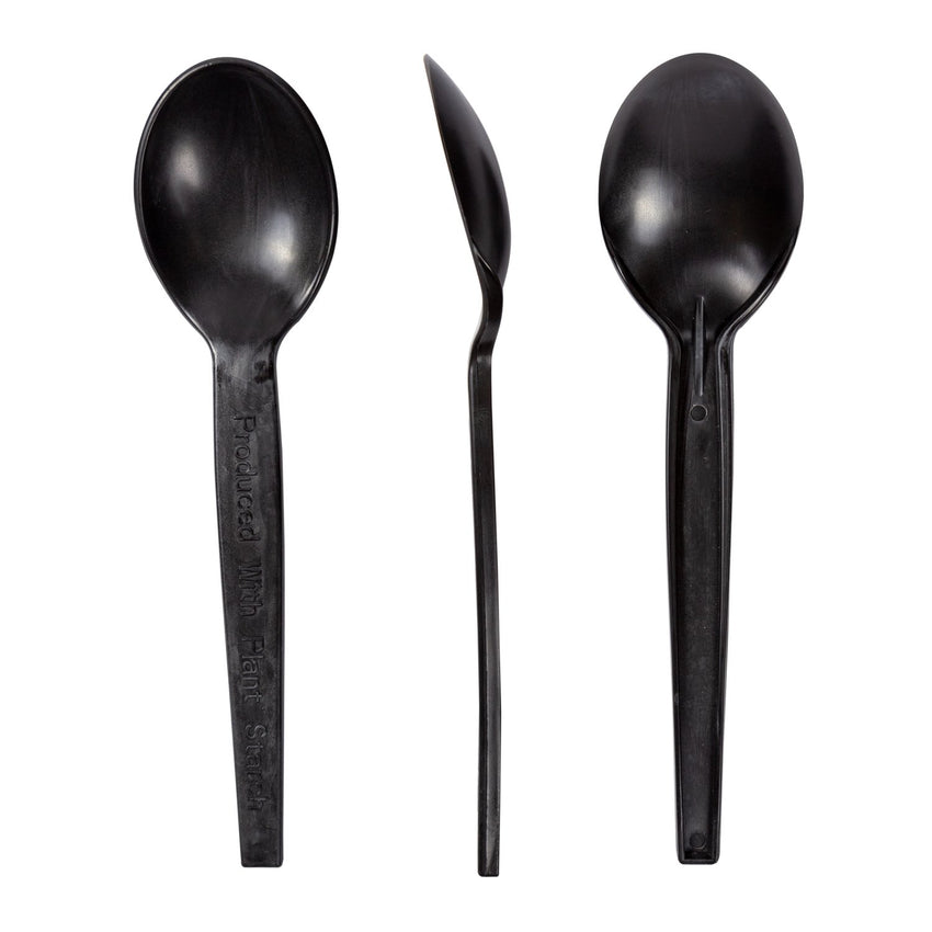 "7"" Black Plant Starch Material Soup Spoons, Front, Side and Back View"