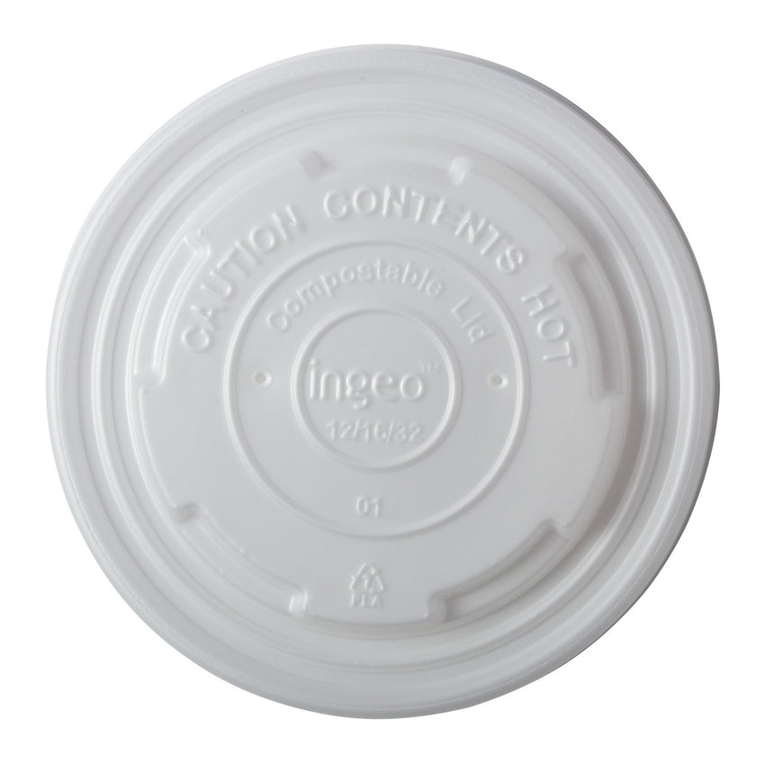 12-32 oz Compostable CPLA Lid, Overhead View