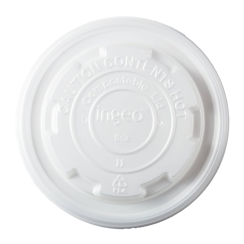 8 oz Compostable CPLA Lid, Overhead View