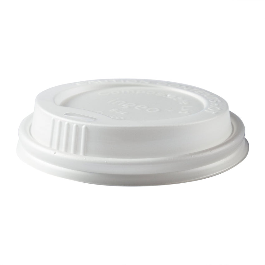 8 oz Compostable CPLA Hot Cup Lid, Slightly Tilted Side View