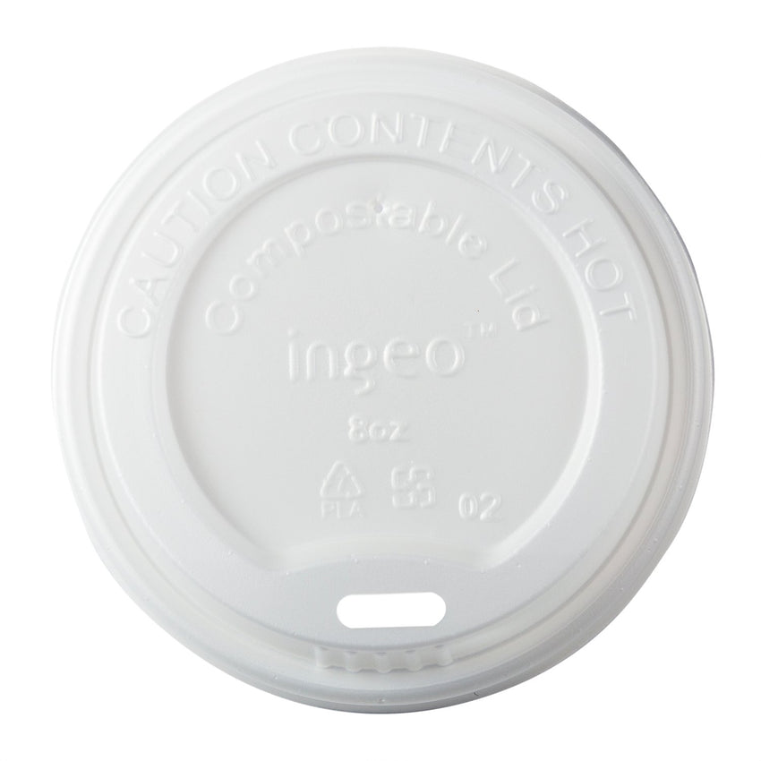 8 oz Compostable CPLA Hot Cup Lid, Overhead View