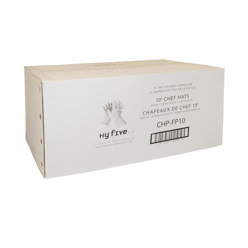 "Chef Hat Paper 10"" Flat Pack, Case 25x4"