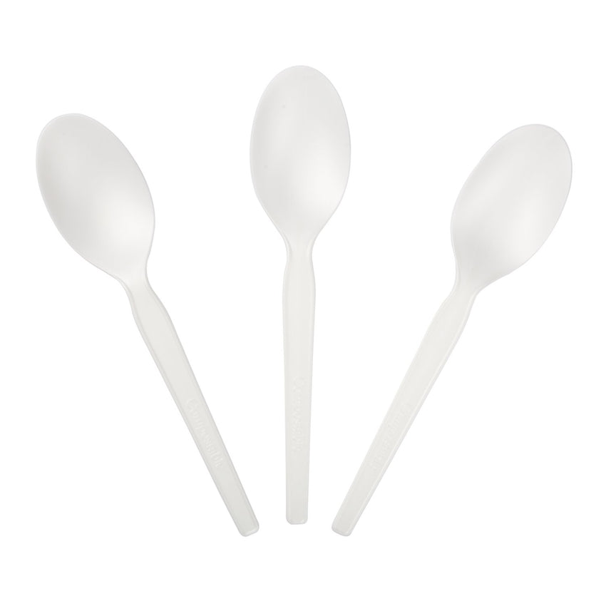 "6.5"" Compostable CPLA Spoon, Three Spoons Fanned Out"
