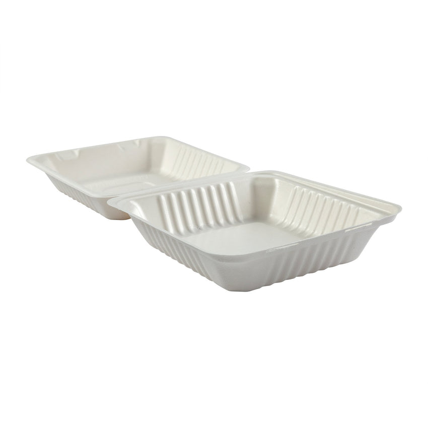 "Deep Medium PLA Lined Hinged Lid Containers 7.875"" x 8"" x 3.19"", Opened Side View"