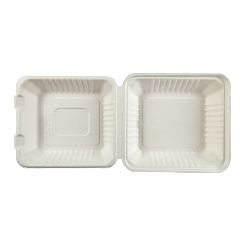 "Deep Medium PLA Lined Hinged Lid Containers 7.875"" x 8"" x 3.19"", Opened Overhead View"