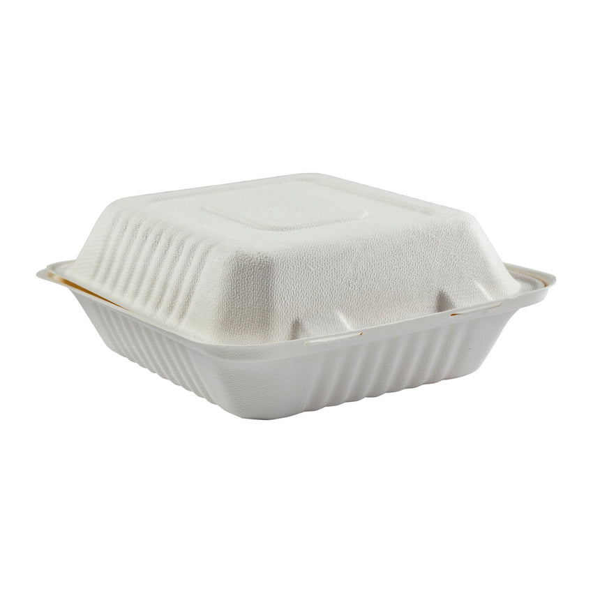 "Deep Medium PLA Lined Hinged Lid Containers 7.875"" x 8"" x 3.19"", Closed Side View"