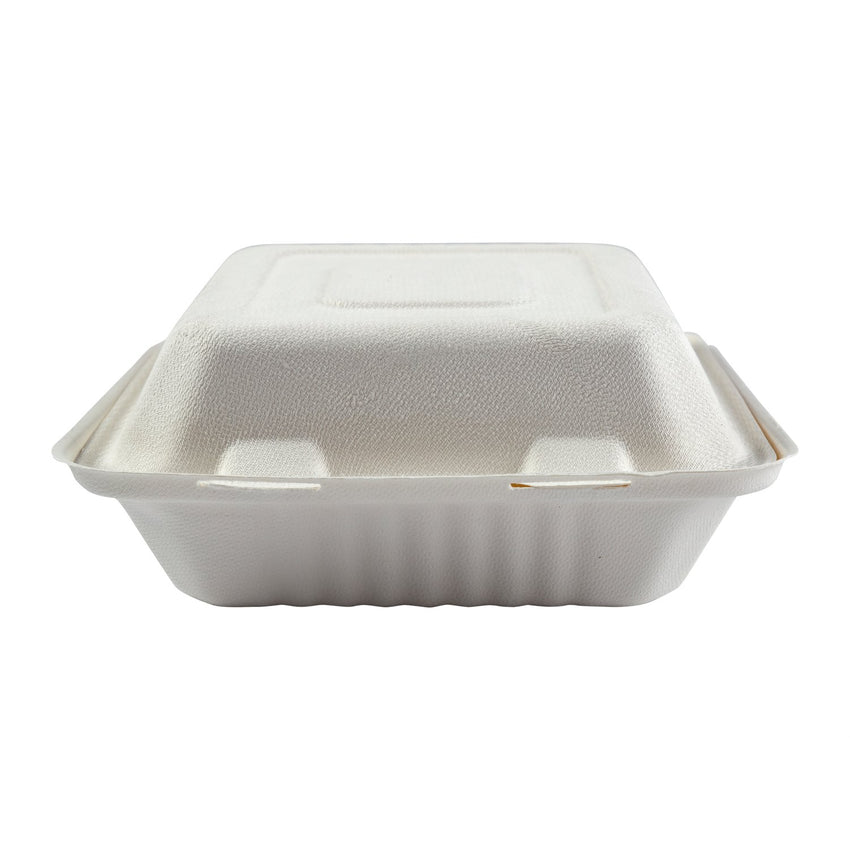 "Deep Medium PLA Lined Hinged Lid Containers 7.875"" x 8"" x 3.19"", Closed Front View"