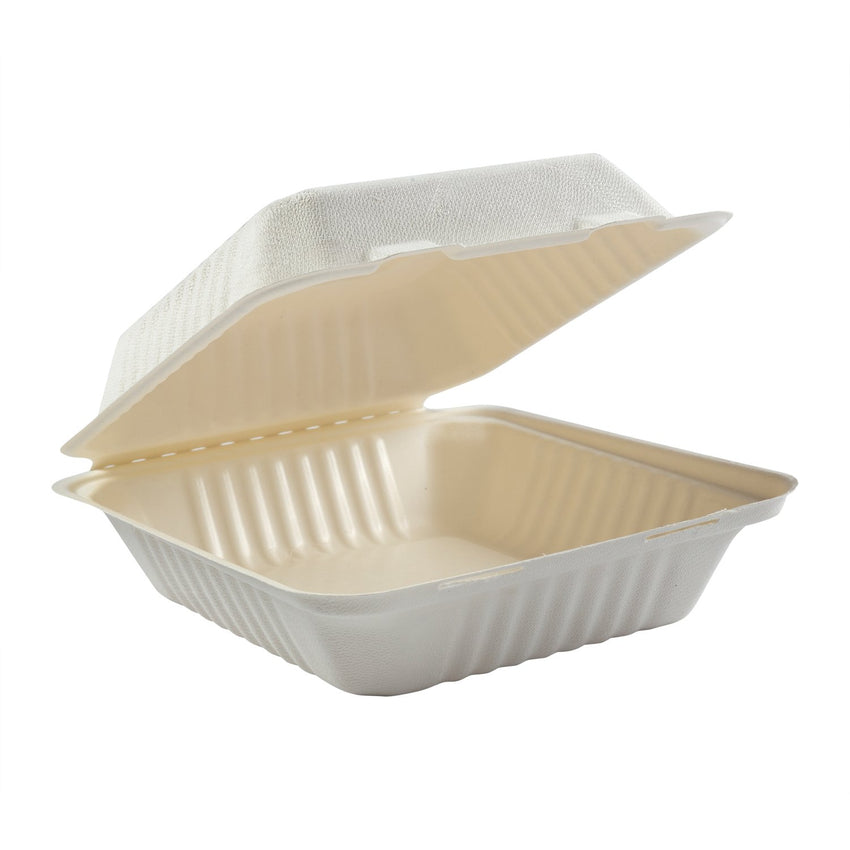 "Deep Medium PLA Lined Hinged Lid Containers 7.875"" x 8"" x 3.19"""