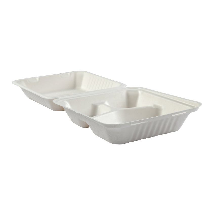 "Deep Medium 3 section PLA Lined Hinged Lid Containers 7.875"" x 8"" x 3.19"", Opened Side View"