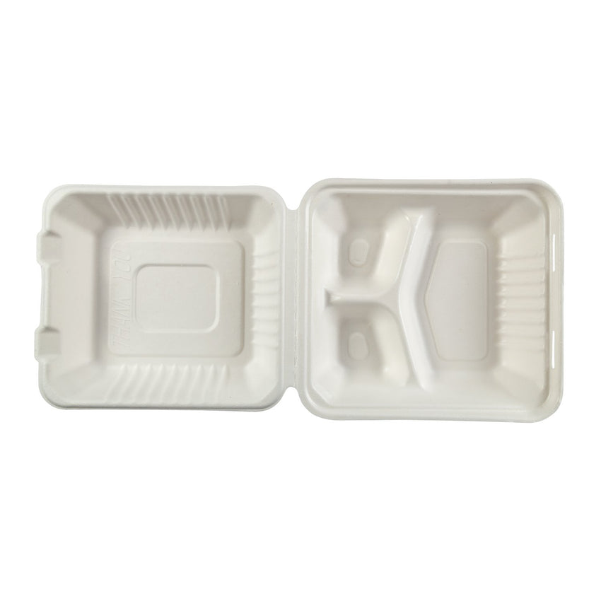 "Deep Medium 3 section PLA Lined Hinged Lid Containers 7.875"" x 8"" x 3.19"", Opened Overhead View"
