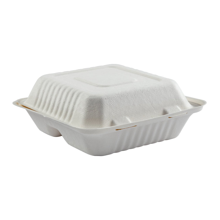 "Deep Medium 3 section PLA Lined Hinged Lid Containers 7.875"" x 8"" x 3.19"", Closed Side View"