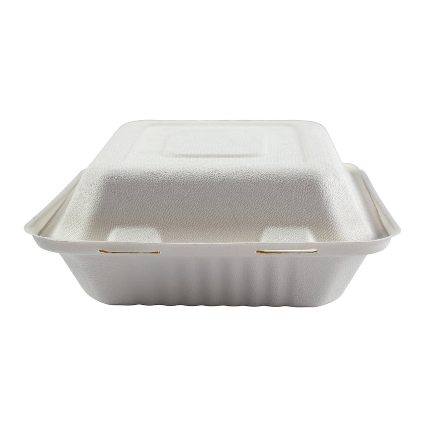 "Deep Medium 3 section PLA Lined Hinged Lid Containers 7.875"" x 8"" x 3.19"", Closed Front View"