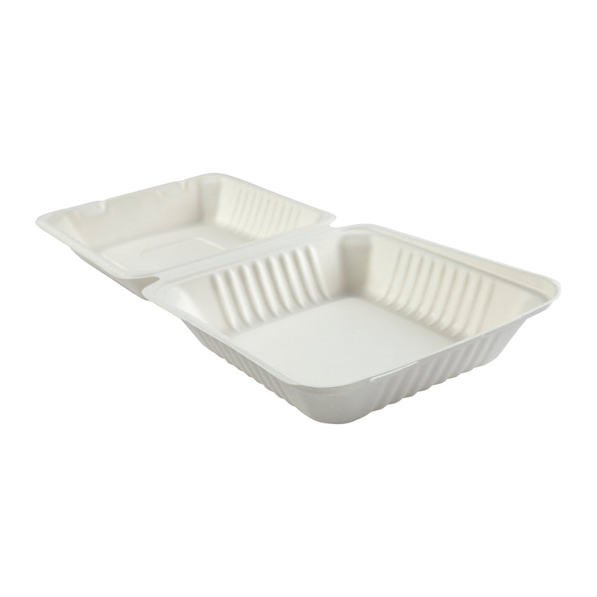 "Deep Medium Hinged Lid Containers 7.875"" x 8"" x 3.19"", Opened Side View"