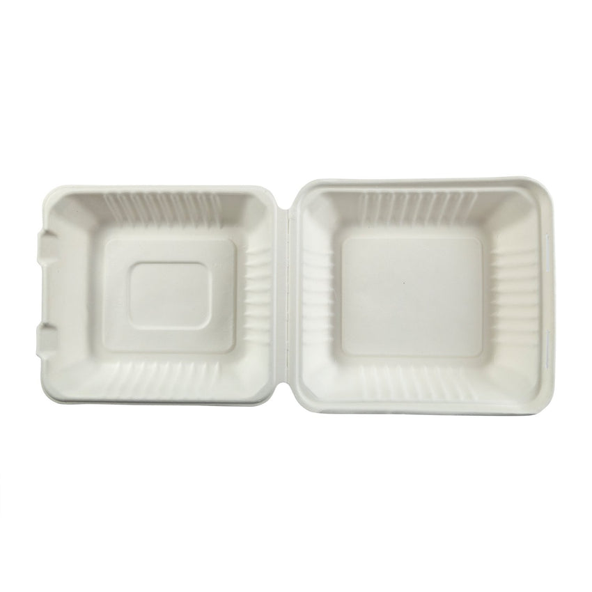 "Deep Medium Hinged Lid Containers 7.875"" x 8"" x 3.19"", Opened Overhead View"