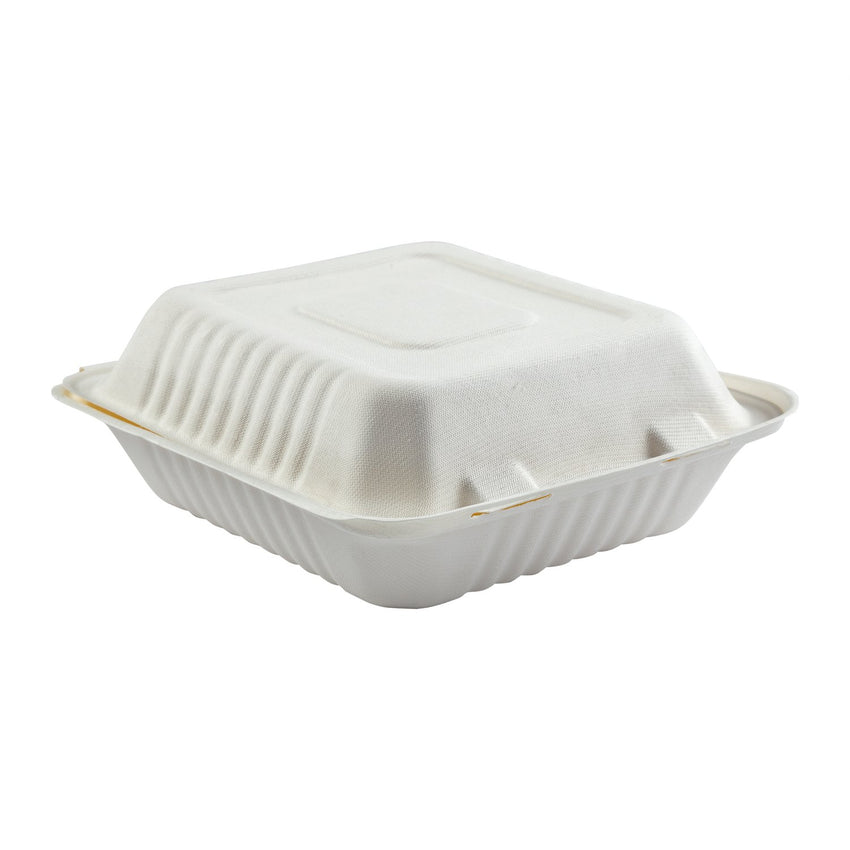 "Deep Medium Hinged Lid Containers 7.875"" x 8"" x 3.19"", Closed Side View"