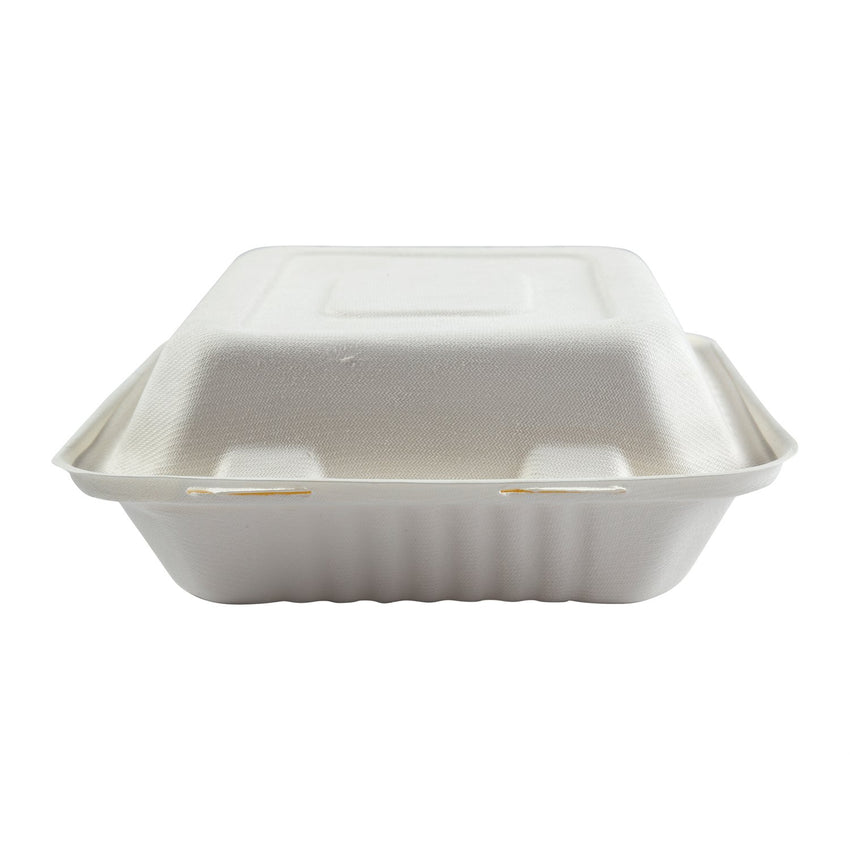 "Deep Medium Hinged Lid Containers 7.875"" x 8"" x 3.19"", Closed Front View"