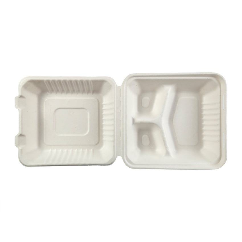 "Deep Medium 3-section Hinged Lid Containers 7.875"" x 8"" x 3.19"", Opened Overhead View"
