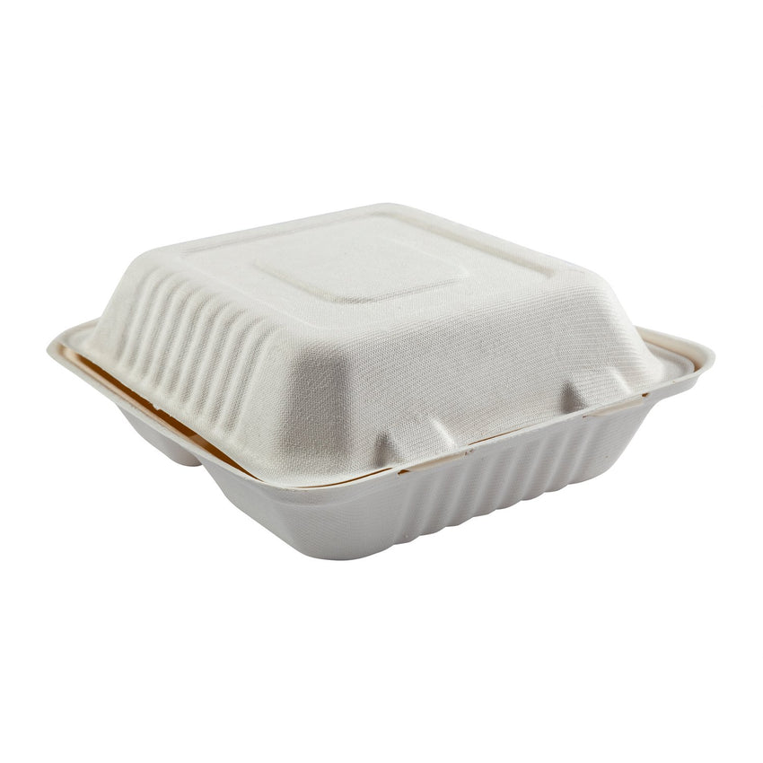 "Deep Medium 3-section Hinged Lid Containers 7.875"" x 8"" x 3.19"", Closed Side View"