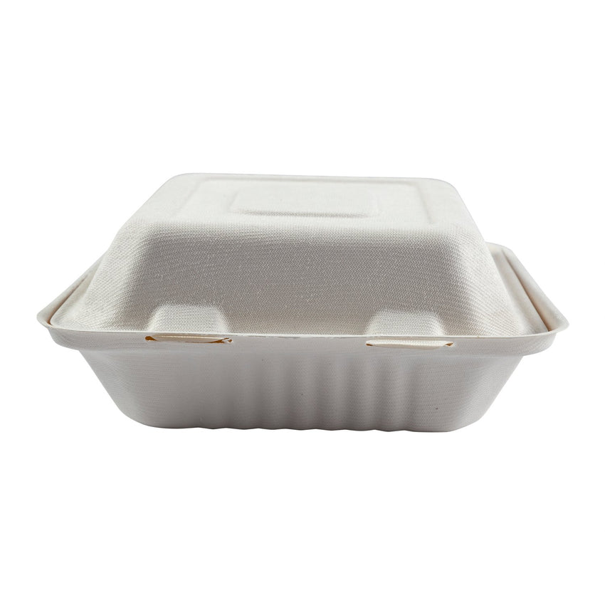 "Deep Medium 3-section Hinged Lid Containers 7.875"" x 8"" x 3.19"", Closed Front View"