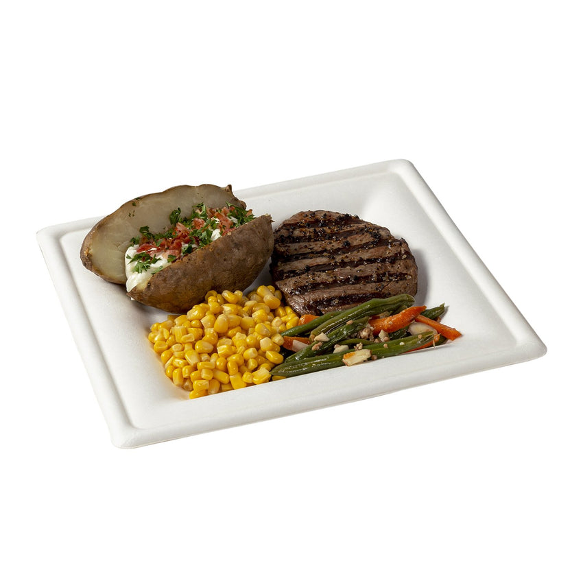 "8"" Square Plates, with food"