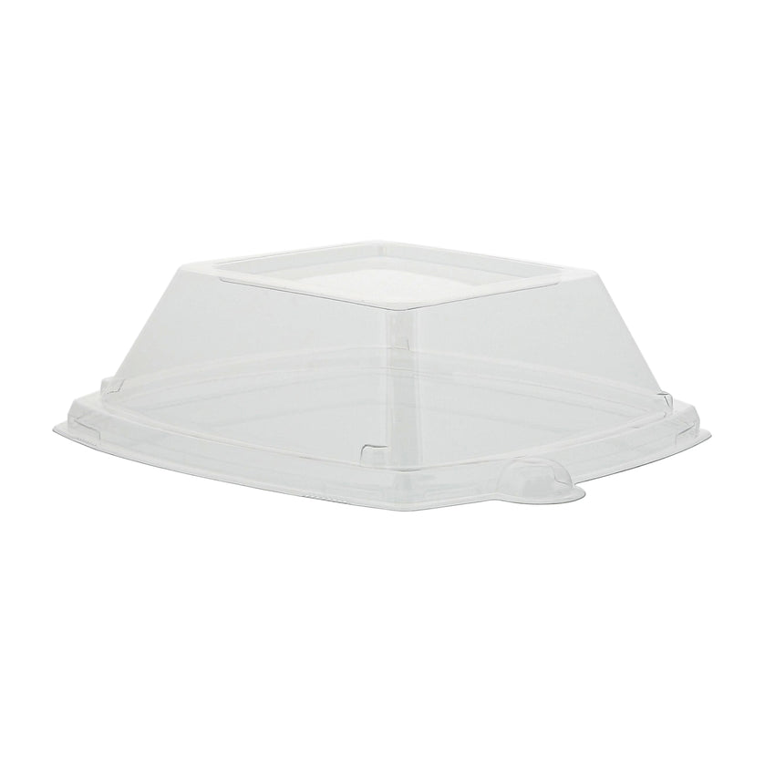 12 oz Square Rimmed Bowl Clear Lids, 4/125