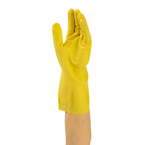 Glove Hsld Rubber Yellow Flocklined, Case 12