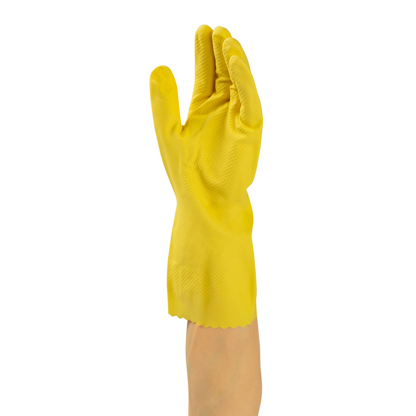 Glove Hsld Rubber Yellow Flocklined, Case 12x10