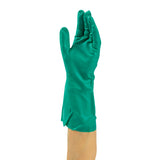 Glove Hsld Nitrile Green Flocklined, Case 12x12