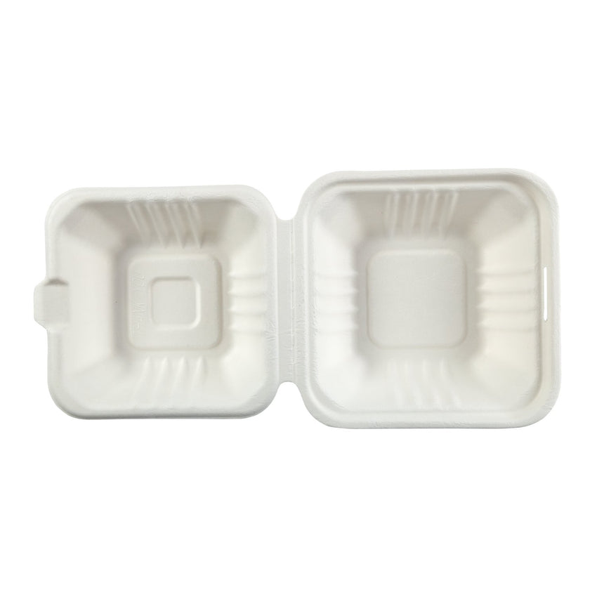 "Small Hinged Lid Containers 6"" x 6"" x 3.19"", Opened Container, Overhead View"