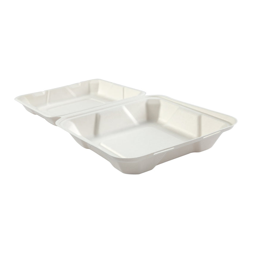 "Medium Hinged Lid Containers 7.875"" x 8"" x 2.5"", Opened Container"