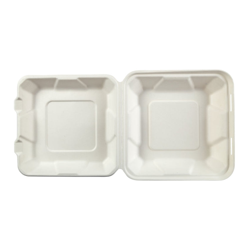 "Medium Hinged Lid Containers 7.875"" x 8"" x 2.5"", Opened Container, Overhead View"
