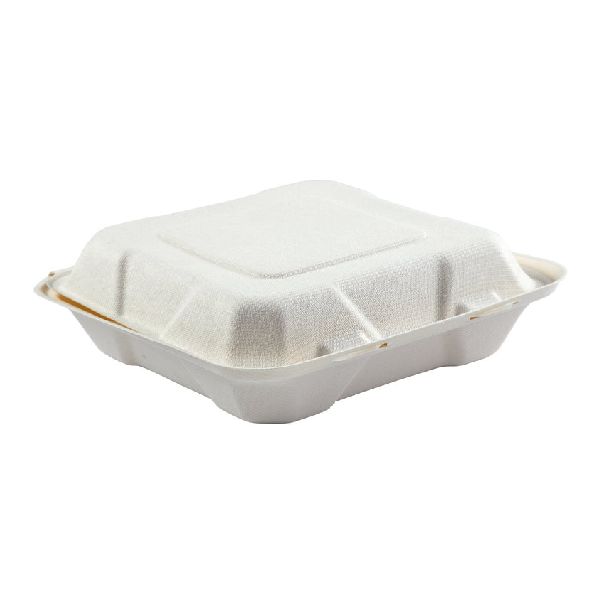 "Medium Hinged Lid Containers 7.875"" x 8"" x 2.5"", Closed Container, Side View"