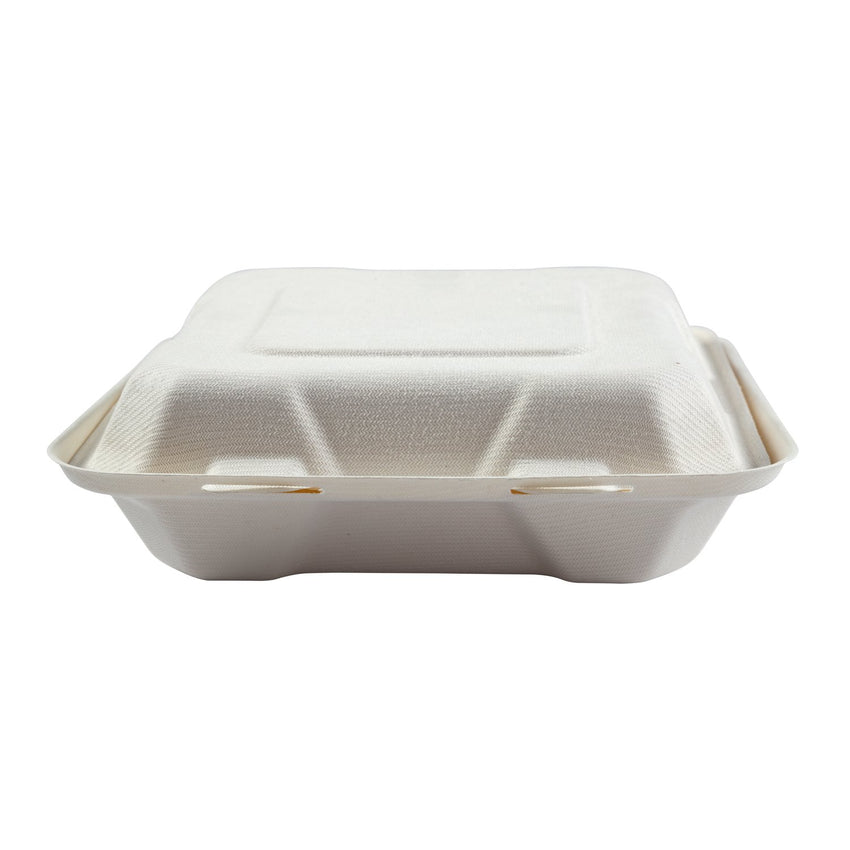 "Medium Hinged Lid Containers 7.875"" x 8"" x 2.5"", Closed Container, Front View"