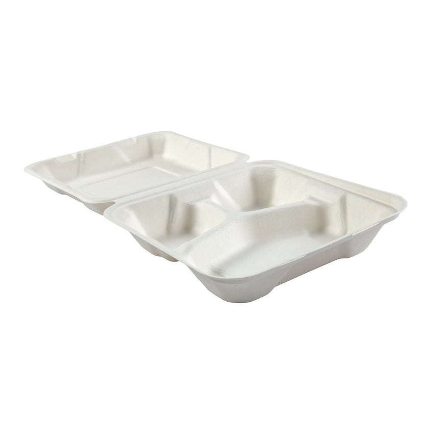 "Medium 3-section Hinged Lid Containers 7.875"" x 8"" x 2.5"", Opened Container, Side View"