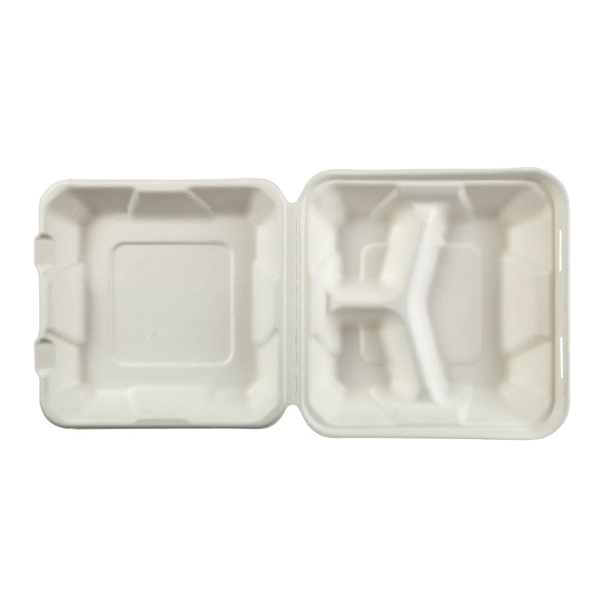 "Medium 3-section Hinged Lid Containers 7.875"" x 8"" x 2.5"", Opened Container, Overhead View"