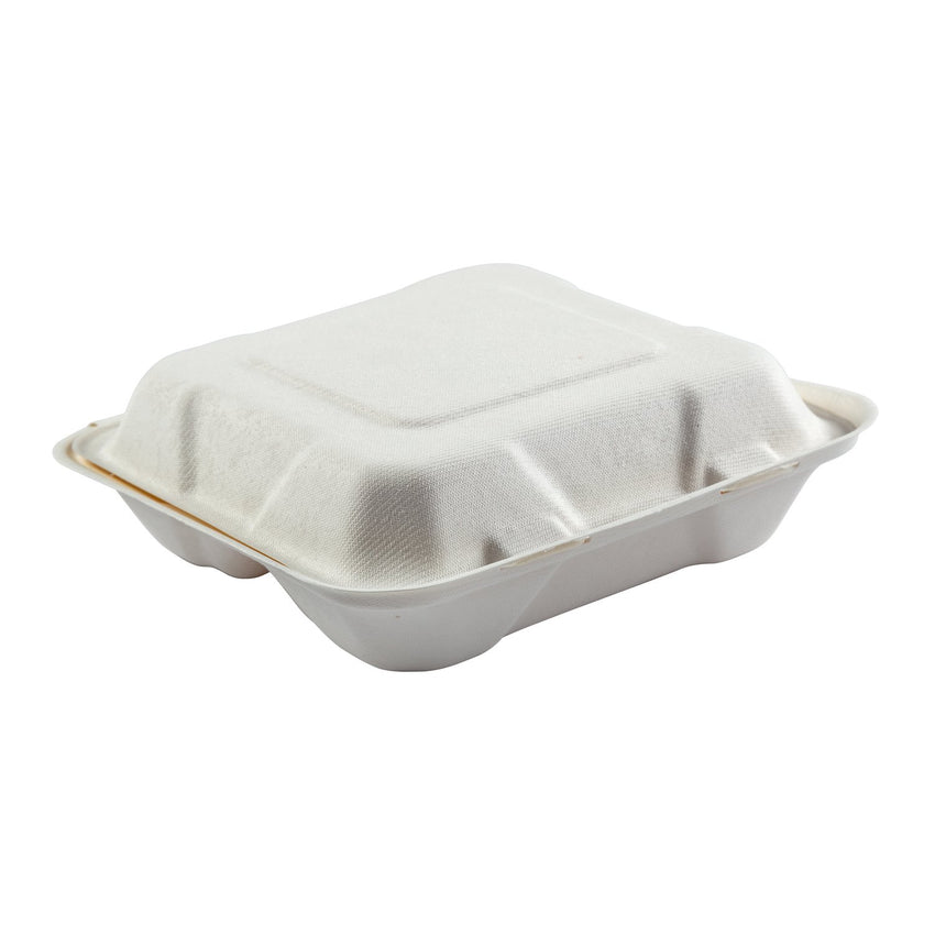 "Medium 3-section Hinged Lid Containers 7.875"" x 8"" x 2.5"", Closed Container, Side View"