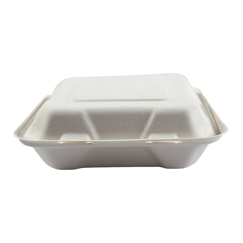 "Medium 3-section Hinged Lid Containers 7.875"" x 8"" x 2.5"", Closed Container, Front View"