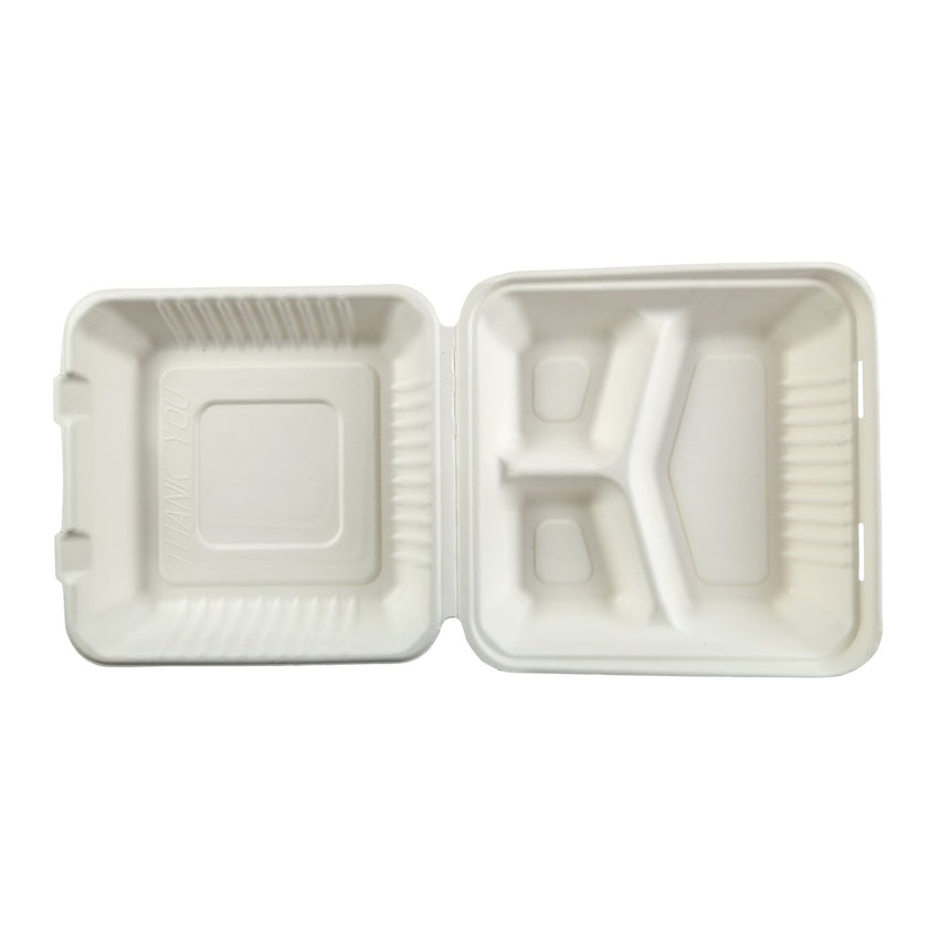 "Large 3-section Hinged Lid Containers 9"" x 9"" x 3.19"", Opened Container, Overhead View"