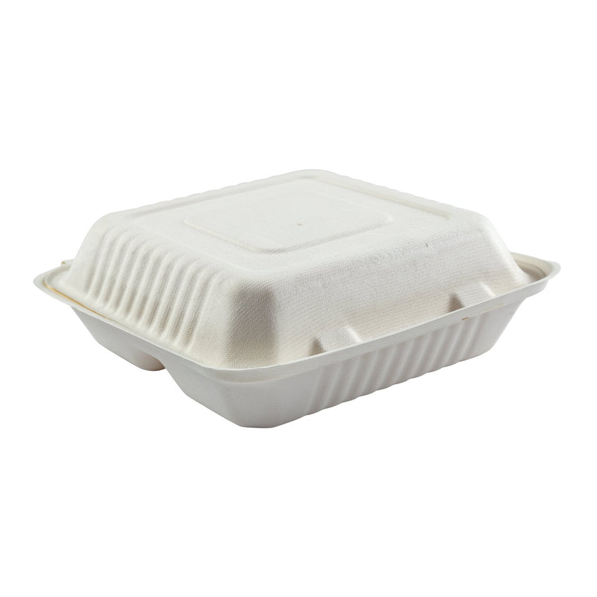 "Large 3-section Hinged Lid Containers 9"" x 9"" x 3.19"", Closed Container, Side View"