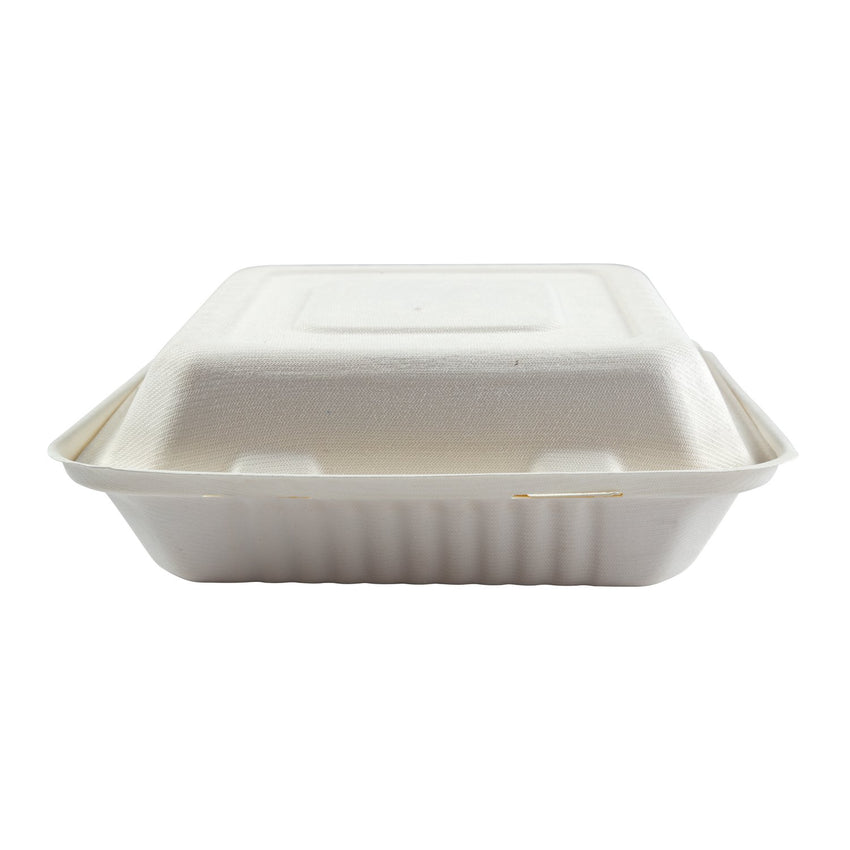 "Large 3-section Hinged Lid Containers 9"" x 9"" x 3.19"", Closed Container, Front View"