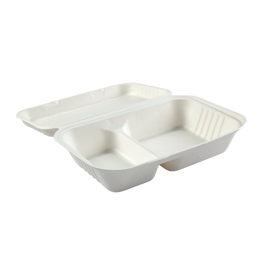 "2-section Hinged Lid Containers 9"" x 6"", Opened Container, Side View"