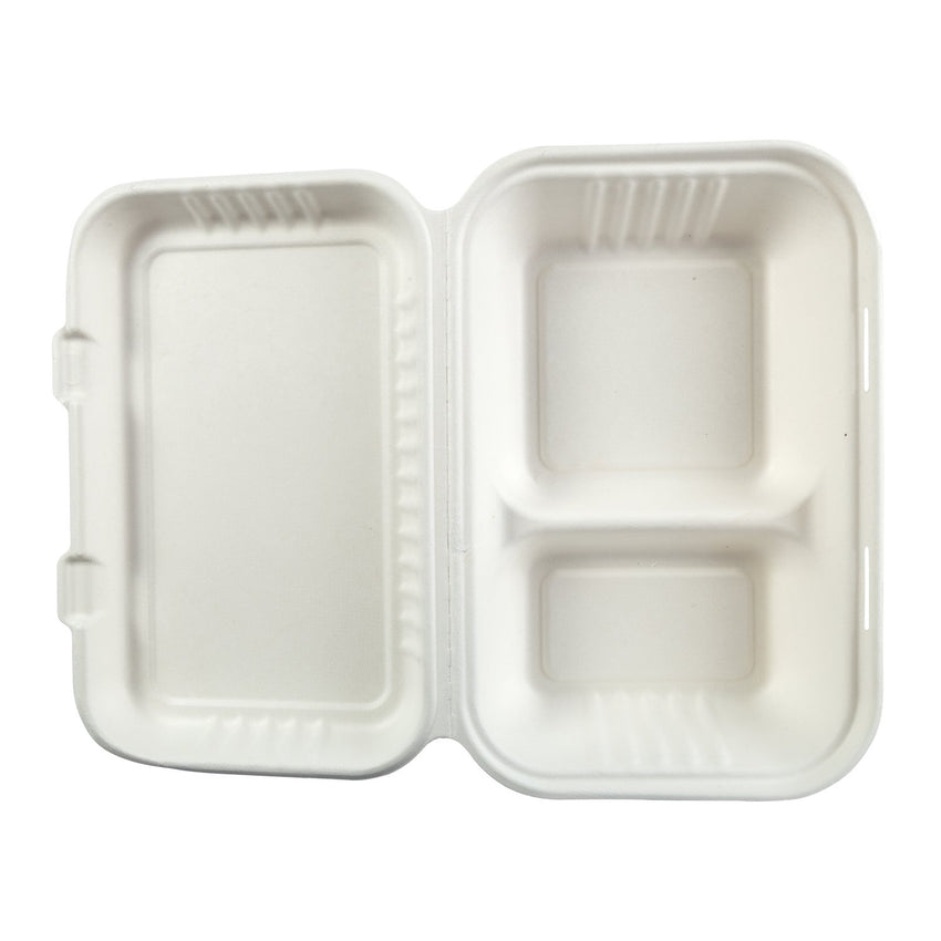 "2-section Hinged Lid Containers 9"" x 6"", Opened Container, Overhead View"
